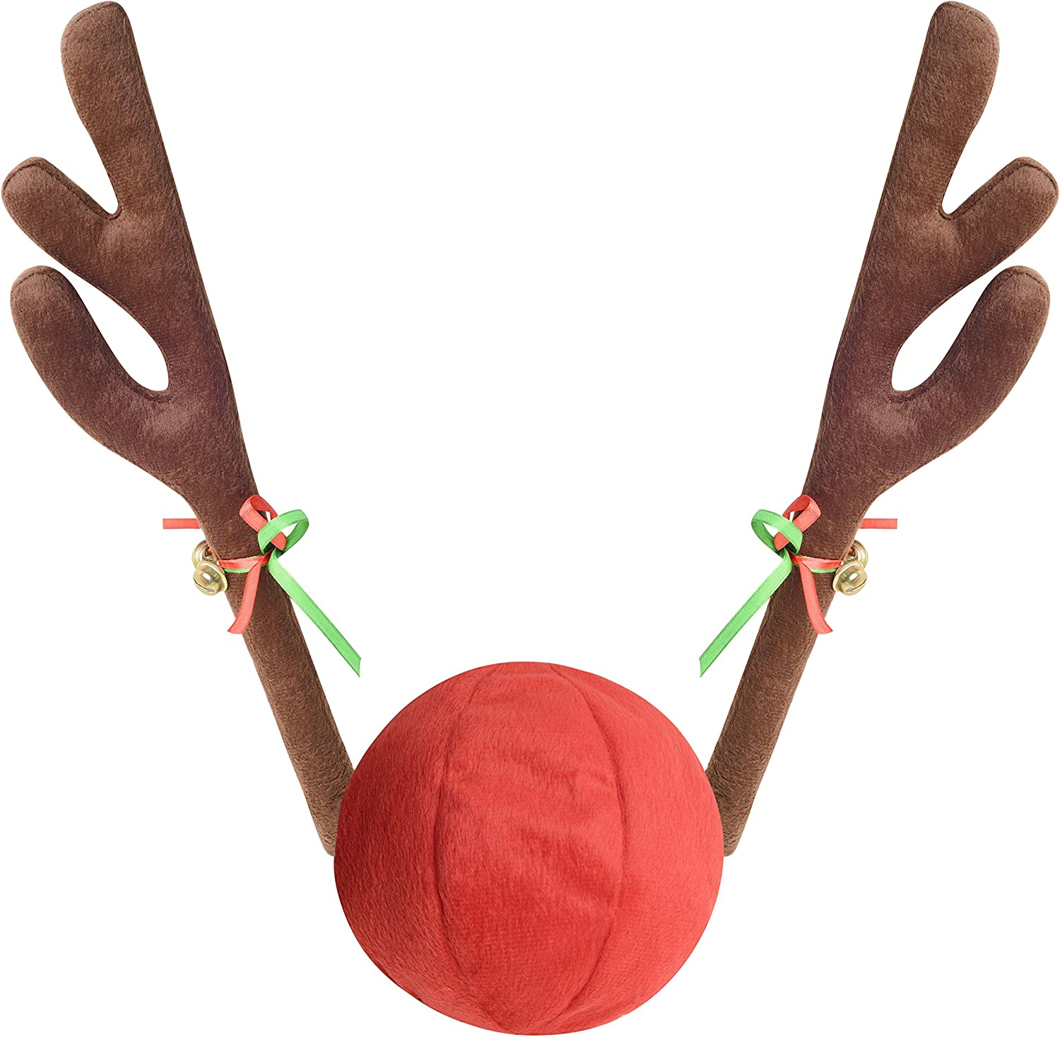 Mak Tools Christmas Reindeer Antlers Car Decoration Kit with Jingle Bell Brown, Large