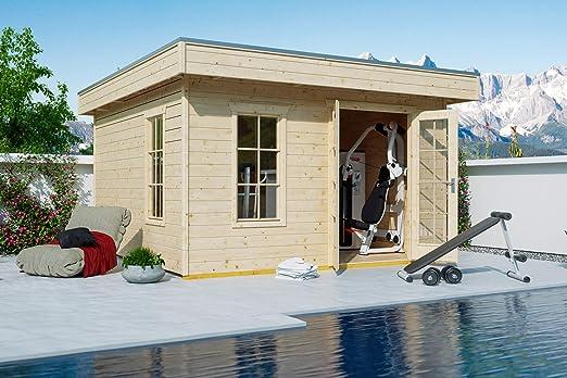 Skan Holz Cabaña Madera tejado Plano 833501100000 Breda Casa, 28 mm, sin Tratar Casas de jardín, Natural, 300 x 380 x 255 cm: Amazon.es: Jardín