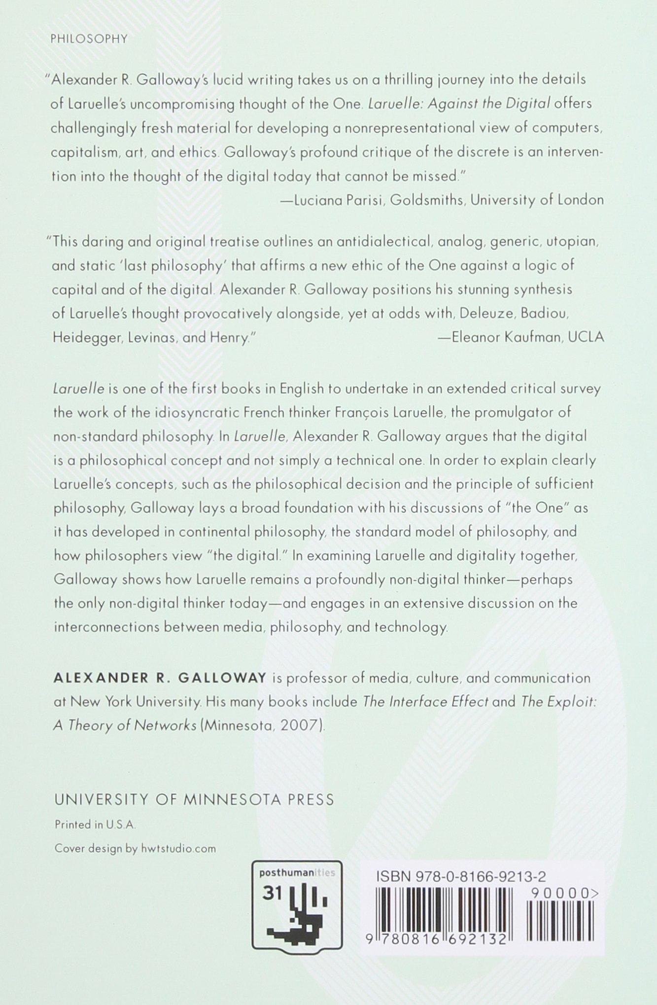 Laruelle: Against The Digital (posthumanities): Alexander R Galloway:  9780816692132: Amazon: Books