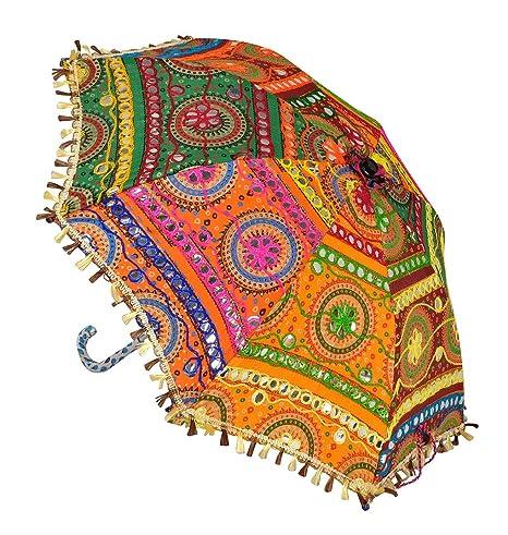 Lal Haveli Vintage Embroidery Work Designer Cotton Mini Umbrella Parasol 21 x 26 inches