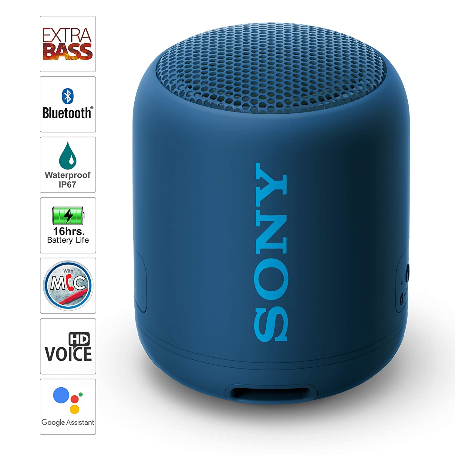 Sony SRS-XB12 Wireless Extra Bass Bluetooth Speaker with 16 Hours Battery Life, Waterproof, Dustproof, Rustproof, Speaker with Mic, Loud Audio for Phone Calls