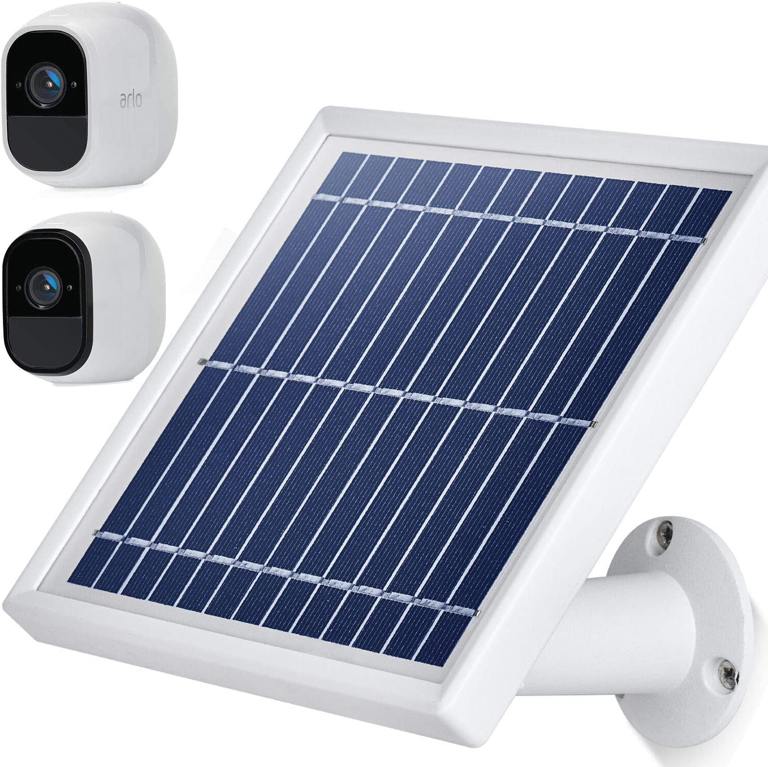 Silver iTODOS Solar Panel Compatible with Arlo Pro and Arlo Pro 2 11.8Ft Outdoor Power Charging Cable and Adjustable Mount/