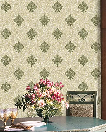 Jz Home 9011 Damask Peel And Stick Wallpaper 17 7 X 9 8ft Army Green Beige Removable Self Adhesive Contact Paper For Home Decor Amazon Com