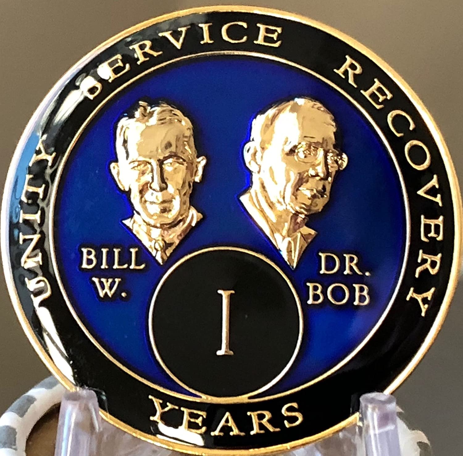 1 Year AA Founders Purple Tri-Plate Medallion Bill /& Bob Sobriety Chip One