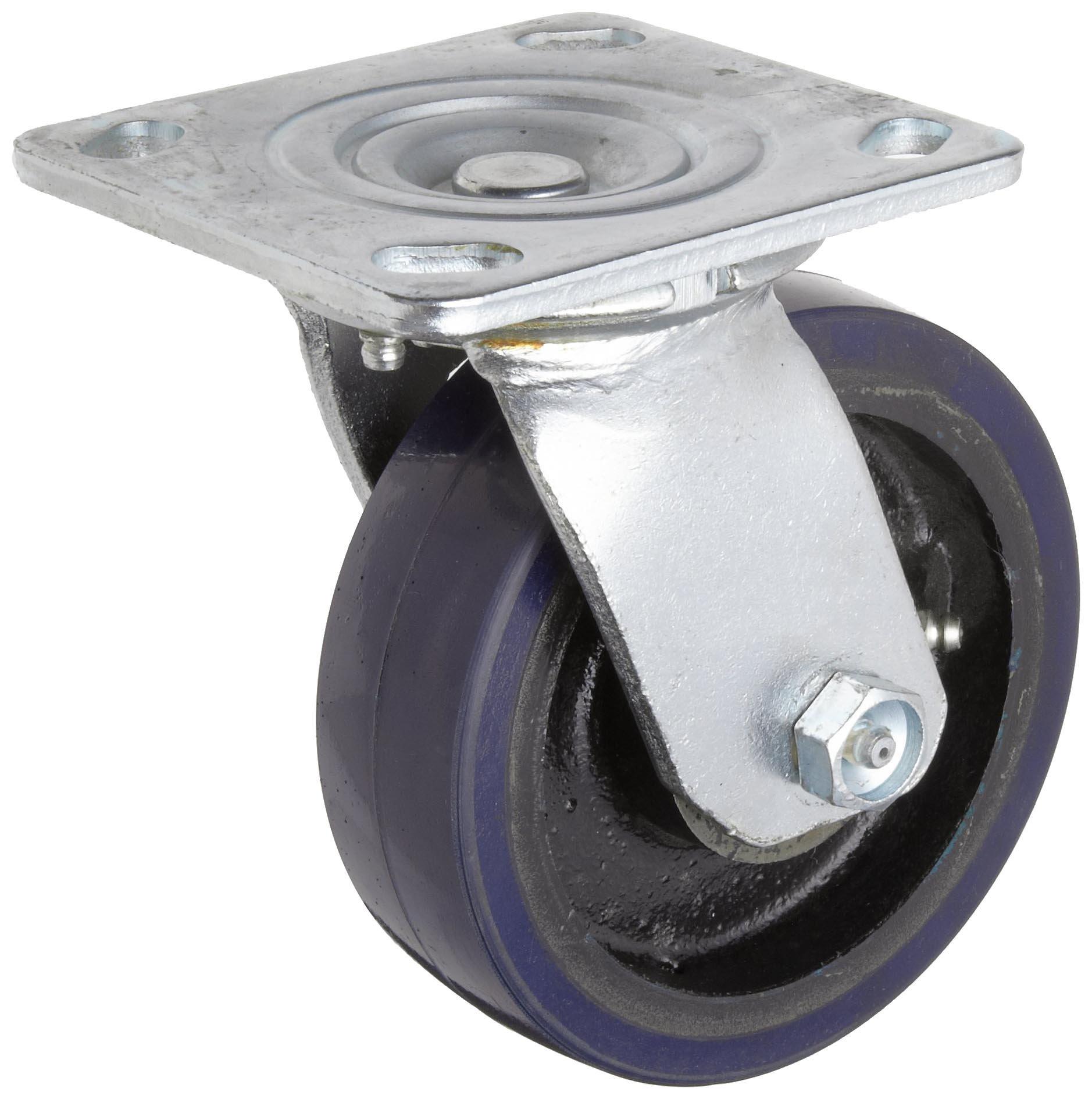 RWM Casters 40 Series Plate Caster, Swivel, Urethane on Aluminum Wheel, Roller Bearing, 720 lbs Capacity, 5'' Wheel Dia, 1-1/2'' Wheel Width, 6-1/8'' Mount Height, 4-1/2'' Plate Length, 4'' Plate Width