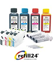 Cartuchos Recargables para Brother 221,223, 225XL, 227XL, 229XL Negro+Color, Incluye Accesorios + 400 ML Tinta