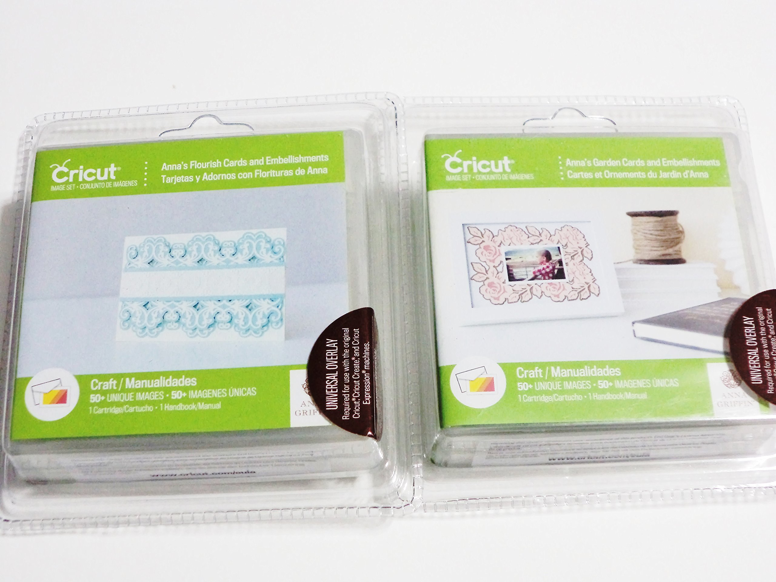 Cricut Anna's Flourish Cards and Embellishments + Anna's Garden Cards and Embellishments 2 Cartridge Paper Scrapbook Craft Bundle