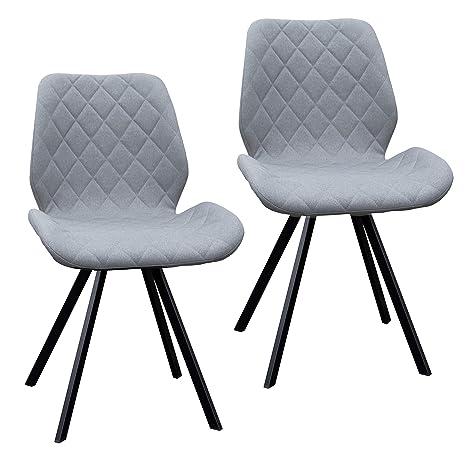 37420a0e29414f 2er Set Esszimmerstuhl Polsterstuhl Stuhl Küchen-Stuhl grau Dunkelgrau  Hellgrau Stoff Metall-Beine Retro