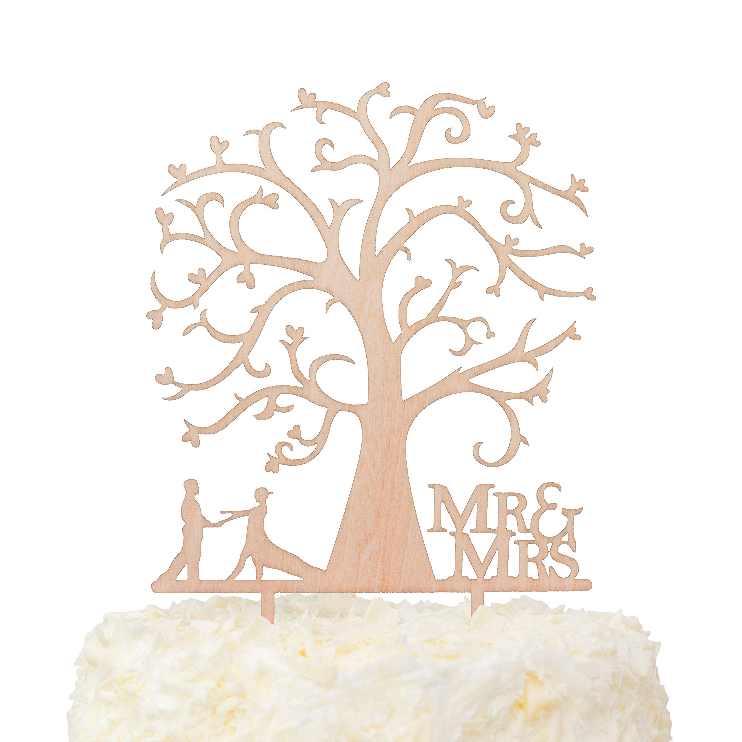LOVENJOY Gift Box Pack Mr and Mrs Dancing Bride and Groom Tree Silhouette Rustic Wedding Cake Toppers Wood (5-inch) by LOVENJOY (Image #1)
