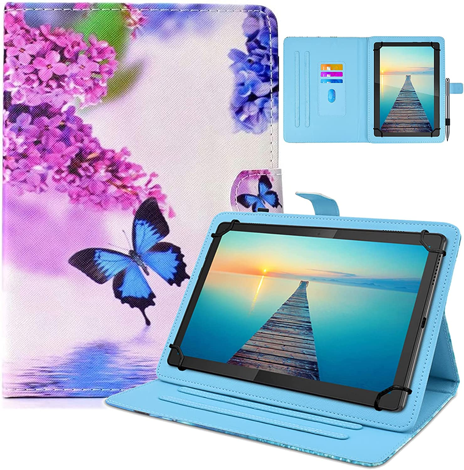 DETUOSI Universal 10 inch Tablet Case, 10.1 inch Tablet Cover, Protective Folio PU Leather Multi-angle Viewing Stand Case【with 3 Card Slots】for All Kinds of 9.6-10.5 inch Android/iOS/Windows Tablet #3