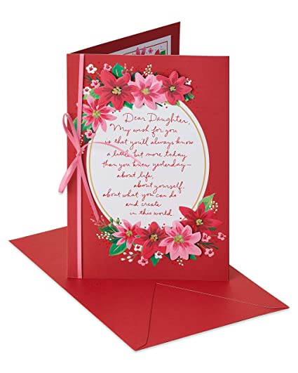 efe7075769e Amazon.com  American Greetings Floral Christmas Card for Daughter ...