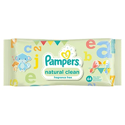Pampers Natural Clean Wipes - 12 x Packs de 64 (768 toallitas húmedas)