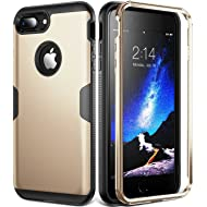 iPhone 8 Plus Case, iPhone 7 Plus Case, YOUMAKER Full Body Heavy Duty Protection Shockproof Case Cover for Apple iPhone 8 Plus 2017/iPhone 7 Plus 5.5 inch Without Screen Protector - Gold/Black
