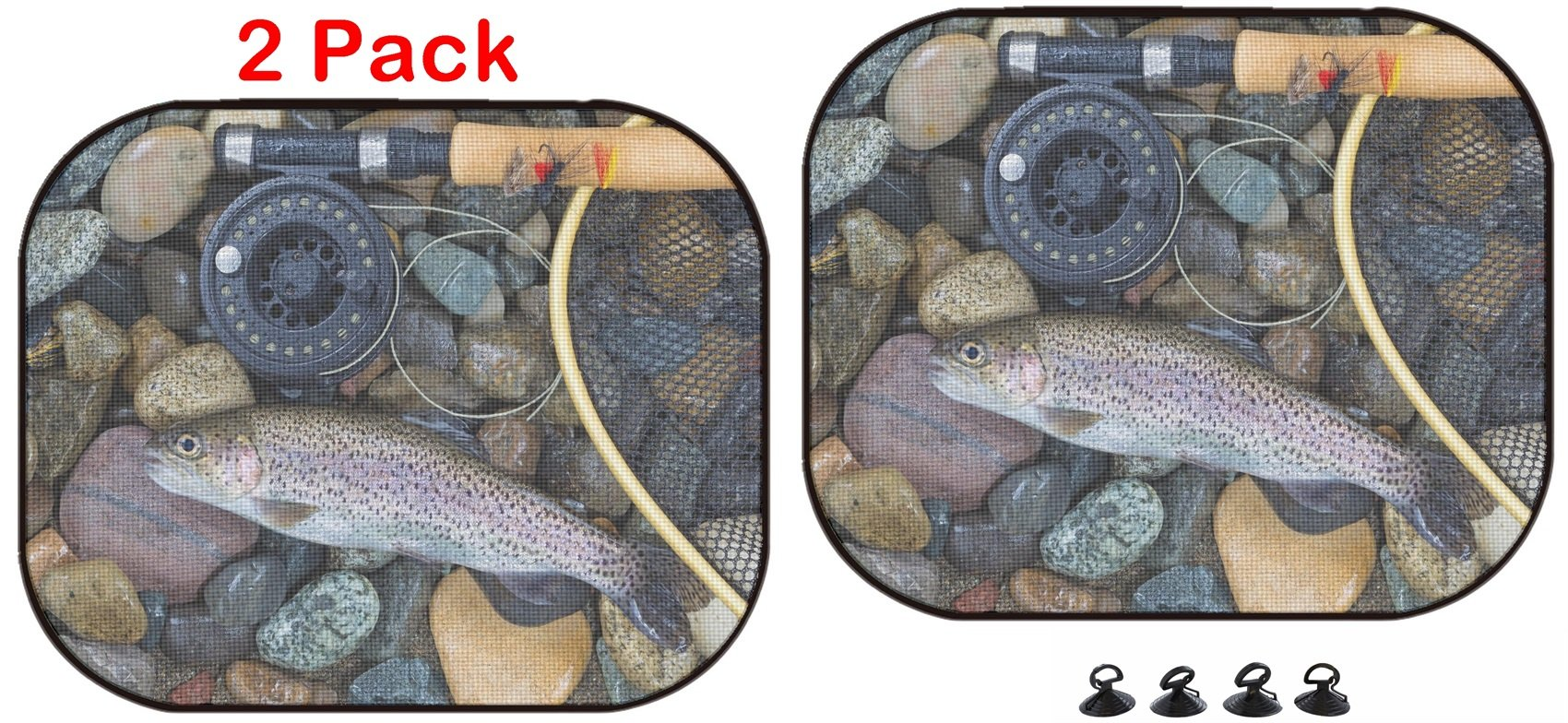 Luxlady Car Sun Shade Protector Block Damaging UV Rays Sunlight Heat for All Vehicles, 2 Pack Image ID: 34662975 Top View of a Single Native Wild Trout Next to Fishing Reel l by Luxlady