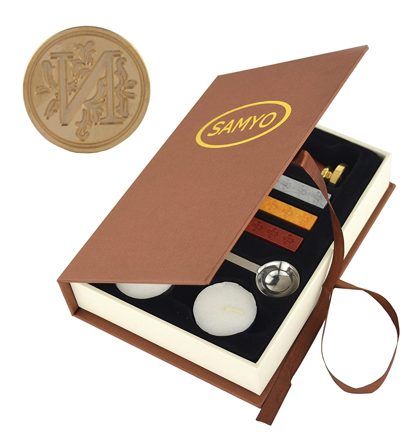 Samyo Stamp Seal Sealing Wax Vintage Classic Old-Fashioned Antique Alphabet Initial Letter Set Brass Color Creative Romantic Stamp Maker (P)