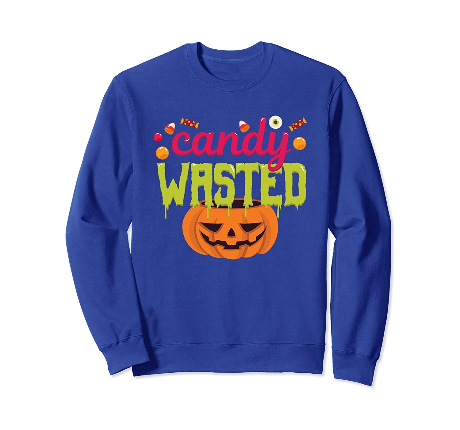 Candy Wasted Pumpkin Trick Or Treat Funny Sweatshirt-mt