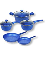 8pc Blue Stone Non-Stick cookware Set, Induction, Casserole, Frypan, Saucepan, Fry Pan