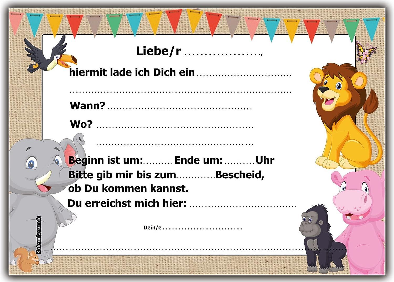 12er Set Einladungskarten Kindergeburtstag Wilde Tiere Zoo Löwe Elefant  Giraffe Affe Zebra Jungen Mädchen Kinder Geburtstag Lustig Witzig  Ausgefallen Im ...