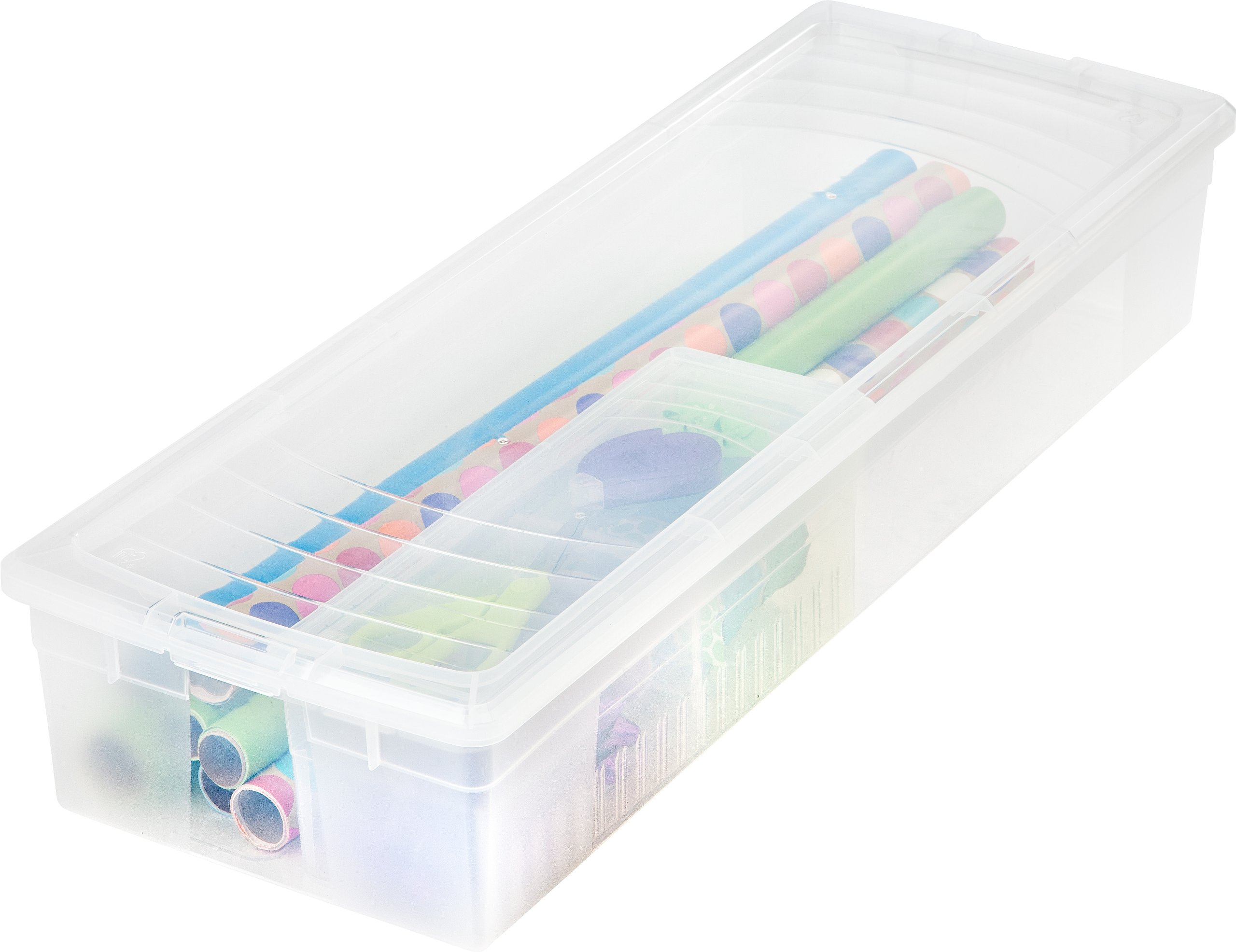 IRIS Wrapping Paper and Ribbon Storage Box Set, 2 Pack, Clear by IRIS USA, Inc.