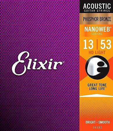 Review Elixir Strings Phosphor Bronze Acoustic Guitar Strings w NANOWEB Coating, HD Light (.013-.053)