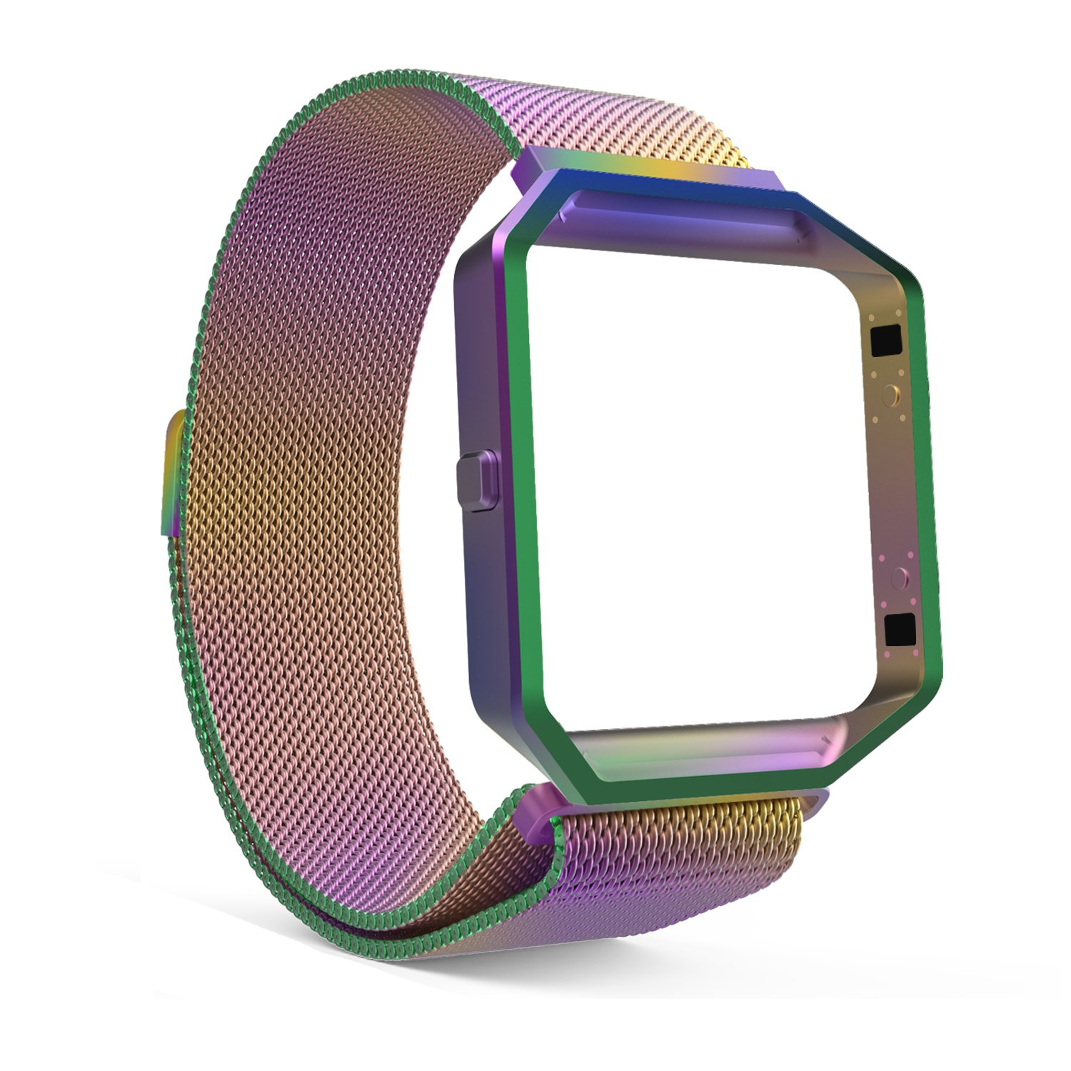 Fitbit Blaze Accessories Band, MoKo Metal Frame Housing + Milanese Loop Mesh Stainless Steel Bracelet Strap Band with Magnet Lock for Fitbit Blaze Smart Fitness Watch - COLORFUL