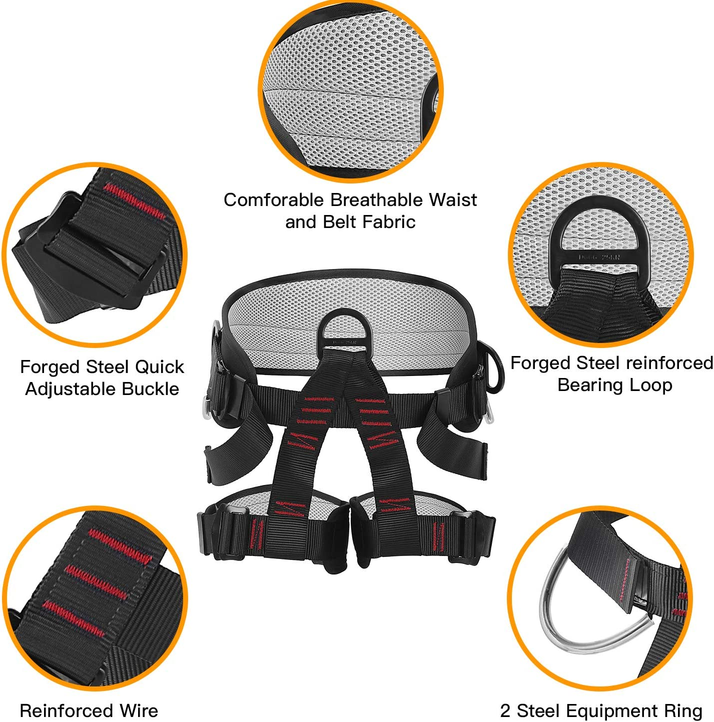 AmazeFan Climbing Harness Protect Waist Safety Harness Wider Half Body Harness for Mountaineering Rock Climbing Fire Rescuing Rappelling Tree Climbing Thicken Rock Climbing Harness for Men Women
