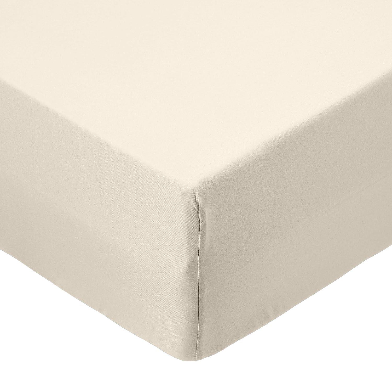 AmazonBasics - Lenzuolo con angoli in microfibra, 90 x 190 x 30 cm, Beige