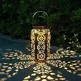 Solar Lantern Outdoor Metal Solar Lights Hanging Lanterns with Handle, Waterproof Solar Light for Garden Courtyard…