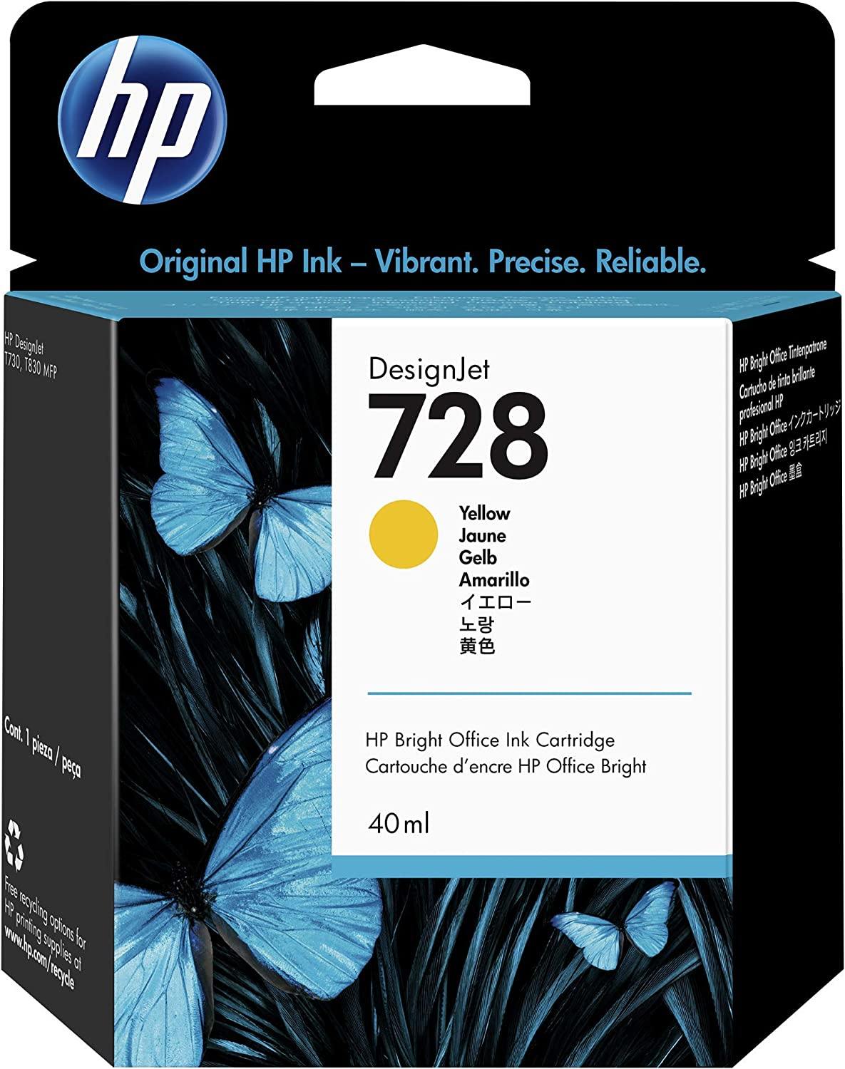 HP 728 Yellow 40-ml Genuine Ink Cartridge (F9J61A) for DesignJet T830 MFP & T730 Large Format Plotter Printers