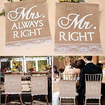 Chenxi Shop 1 Paar Mr Right Mrs Always Right Hochzeit Stuhl