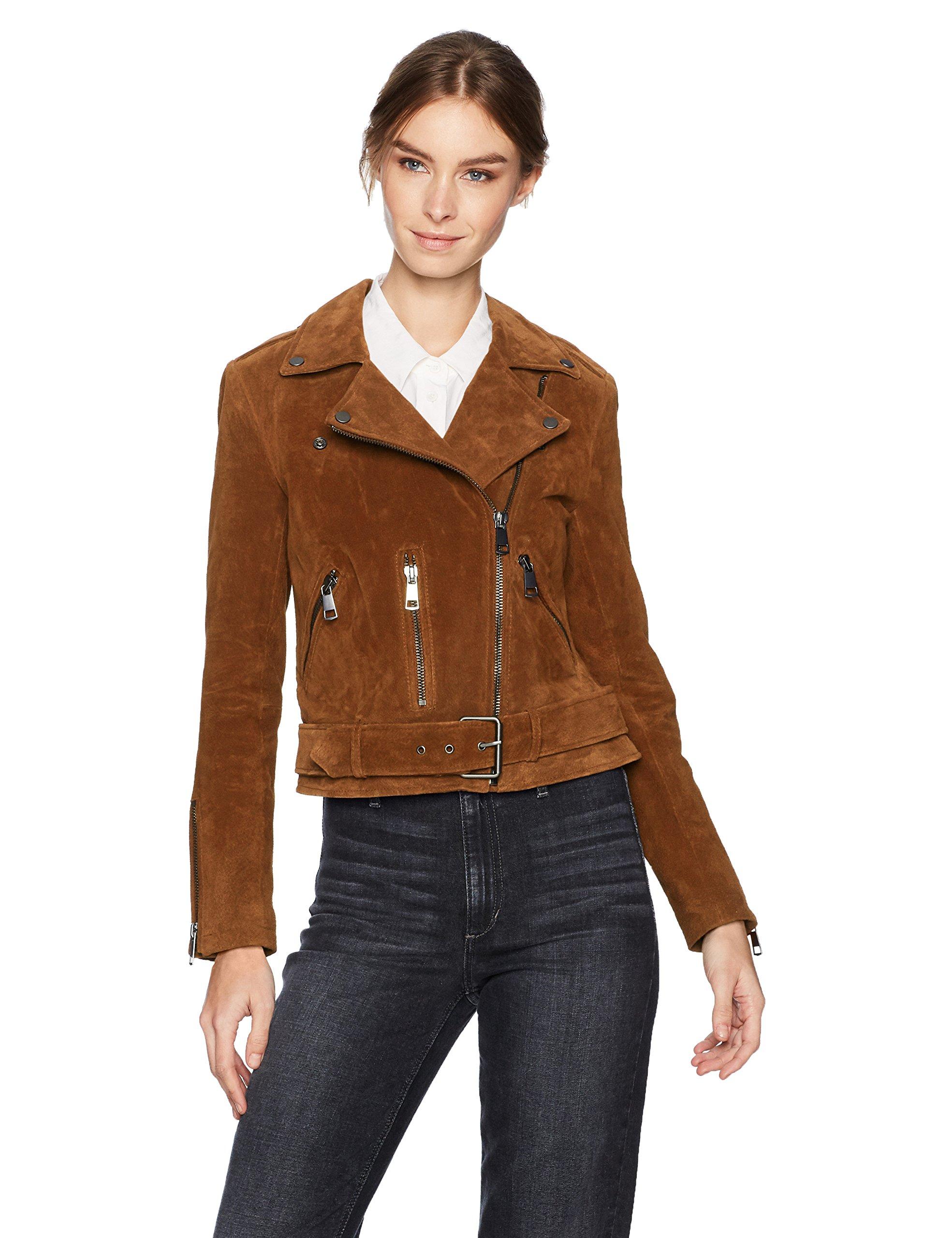 Bagatelle Women's Suede Belted Biker Jacket, Brandy, Extra Small