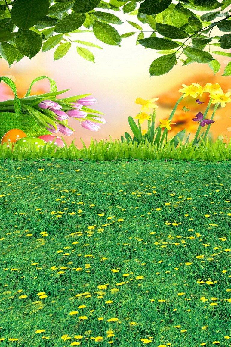 A Monamour Green Grass Lawn Smallイエロー花景色庭ベビーキッズ写真背景Studioビニール壁画写真の背景幕   B01DWDRSGU