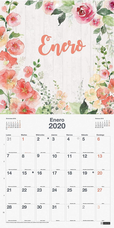 Miquelrius 28055 - Calendario de Pared 300 x 300 mm para escribir Flores 2020 Castellano