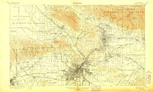 YellowMaps Los Angeles CA topo map, 1:62500 Scale, 15 X 15 Minute, Historical, 1900, Updated 1908, 19.9 x 33 in