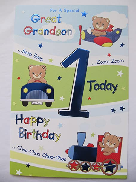 Wonderful For A Special Great Grandson 1 Today 1st Birthday Greeting