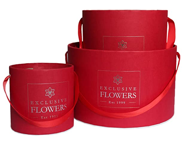 Gift Box Round Red Silver Elegant Flower Box Wedding Decor 3 Sizes Pack S M L Handmade In Europe 4 Available Colors Exclusiveflowers