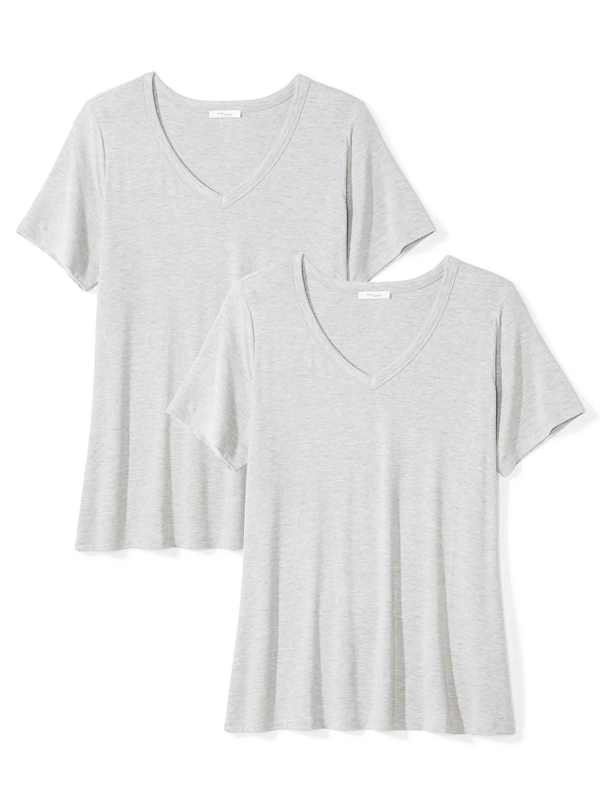 Daily Ritual Women's Plus Size Jersey Short-Sleeve V-Neck T-Shirt, 2-Pack, Light Heather Grey/Light Heather Grey, 2X