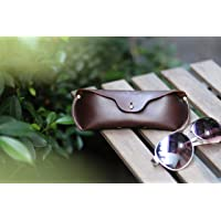 Gold Brown Clam Shell Leather Hard Case for Eyeglass Sunglasses Elder Glasses.