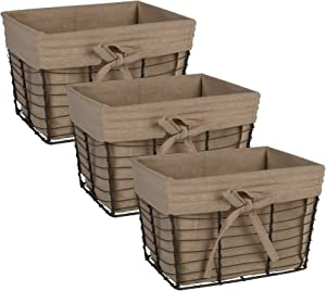 DII Vintage Grey Wire Basket Removable Fabric Liner, Set of 3, Taupe