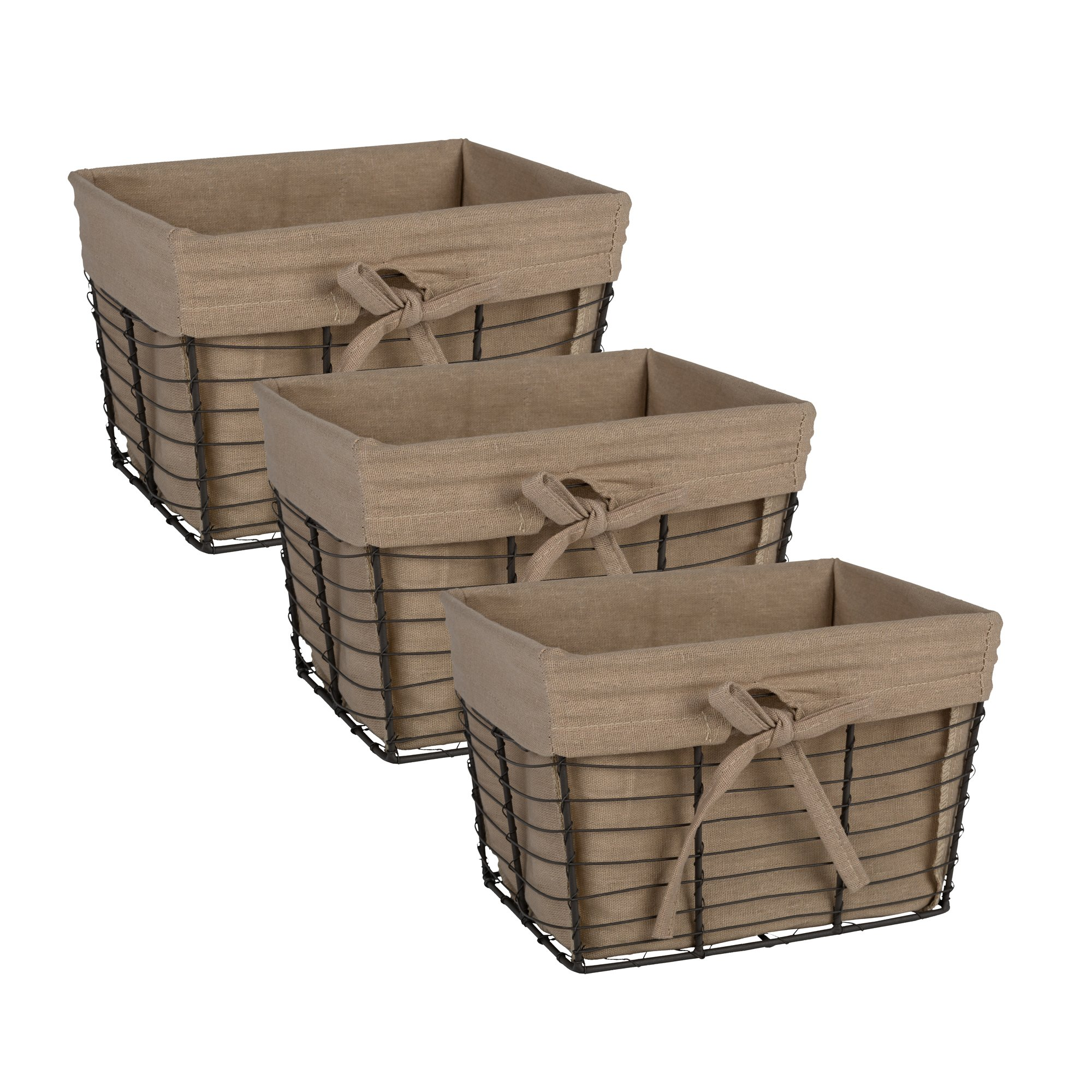 Home Traditions Vintage Metal Chicken Wire Storage Basket with Removable Fabric Liner Set of 3 Small Sized Desert Taupe Fabric with Grey Wire  sc 1 st  eBay & Storage Basket Containers Bins Box Cube Wire Fabric Liners Vintage ...