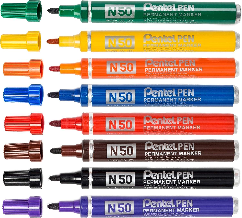 Pentel N50 Permanent Markers Box 12 Various Colours
