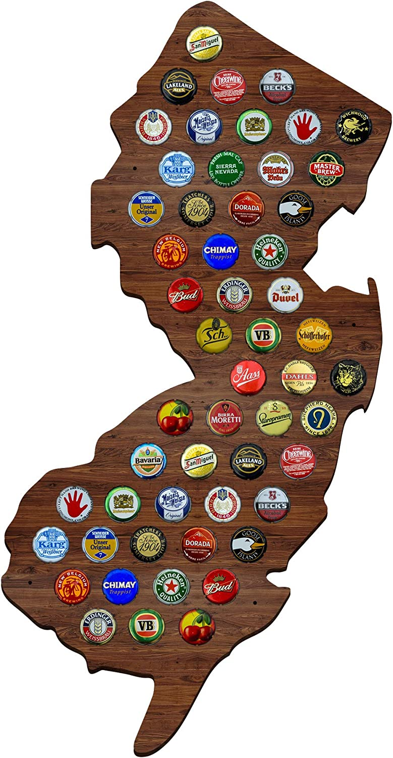 New Jersey Beer Cap Map - Holds Craft Beer Bottle Caps - NJ State Shape - Beer Accessories for Men, Fathers, Brothers, Man Cave Decor, Home Wet Bars, and Beer Lovers