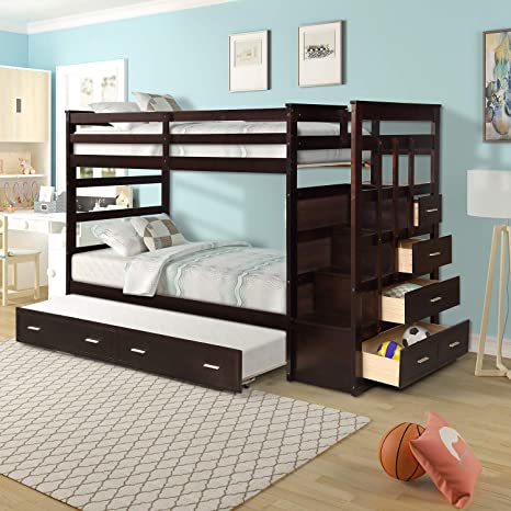 Amazon Com Bunk Bed With Trundle For Kids Twin Over Twin Bunk Beds With Staircase Solid Wood Trundle Bed With Rails And Storage Drawers Dark Brown Kitchen Dining