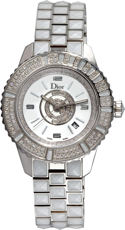 Christian Dior Mujer cd11311cm001Christal Diamante Esfera Blanca Reloj
