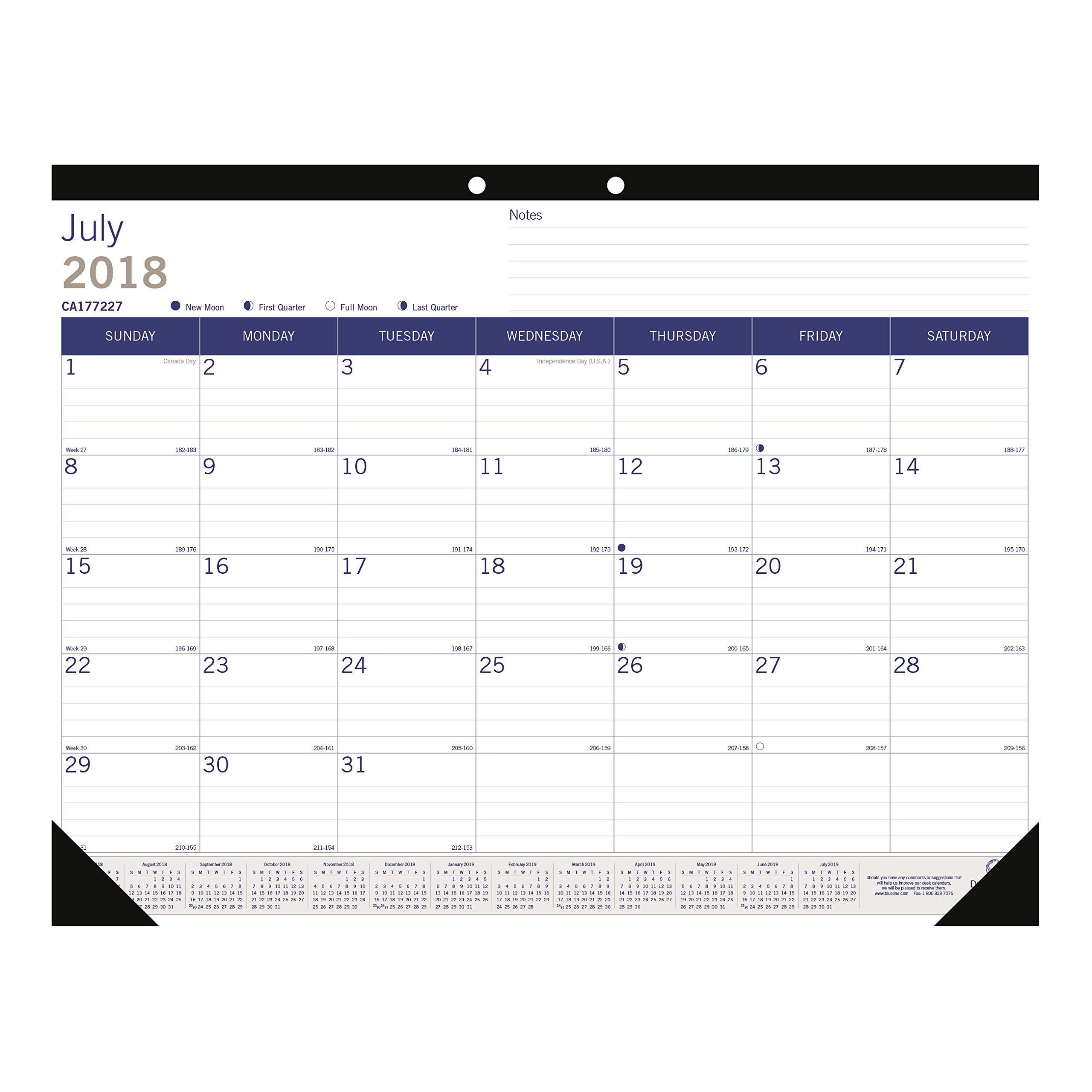 Blueline DuraGlobe Monthly Desk Pad Calendar, Academic, 13-Month, July 2018 to July 2019, 22 x 17 inches (CA177227-19) by Blueline