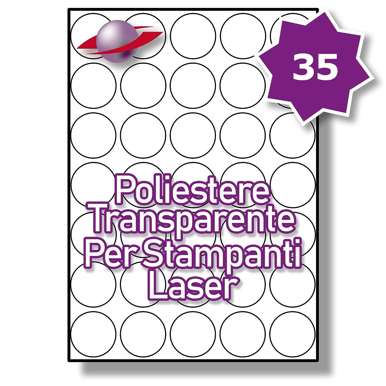 35 Par Foglio 350 Etichette LP35//37 R GTP. 10 Fogli Label Planet/® Etichette Rotonde Trasparenti di Poliestere A4 Lucide per la Stampa Laser 37mm Diametro