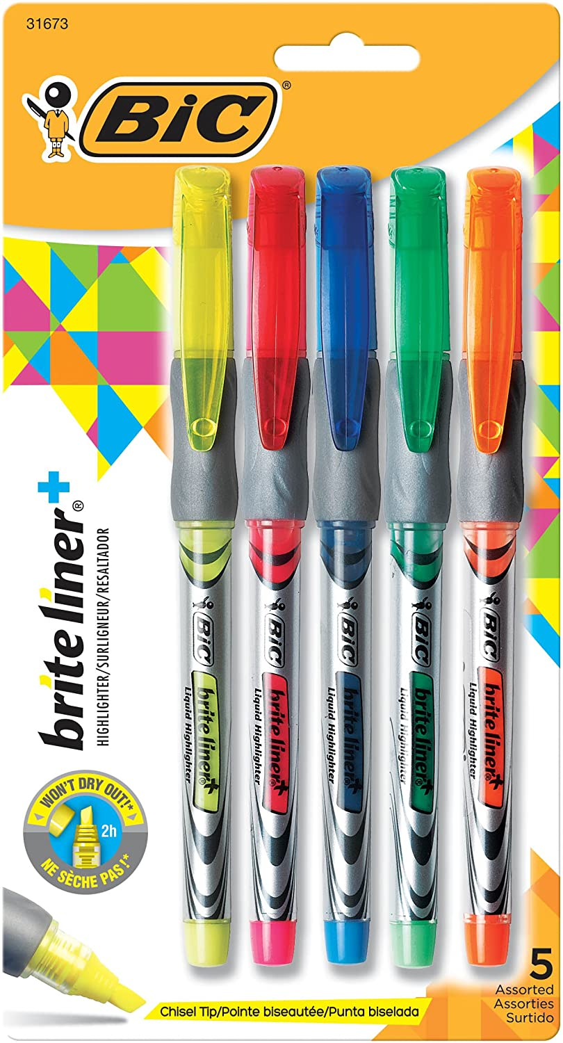 BIC Brite Liner+ Highlighter 5ct, Assorted (B4P51-Ast) BIC Corporation