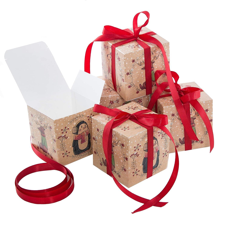 Logbuch-Verlag 25 kleine Geschenkboxen MIT SCHLEIFE rot Tiere Weihnachten Geschenkschachtel Verpackung 10 x 10 cm Box Schachtel f/ür Weihnachtsgeschenk Kinder give-away