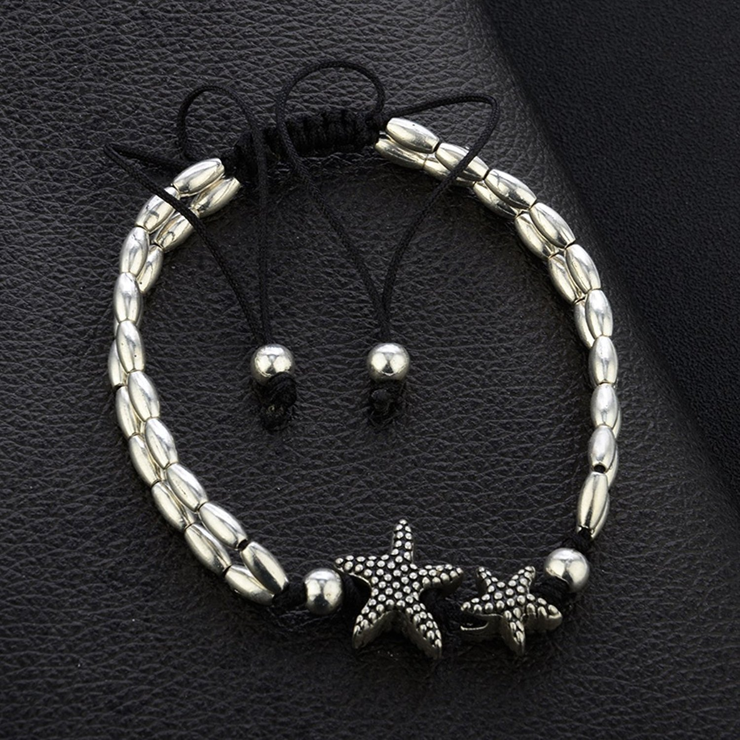 Charms Exclusive Starfish Silver Beaded Alloy Anklet