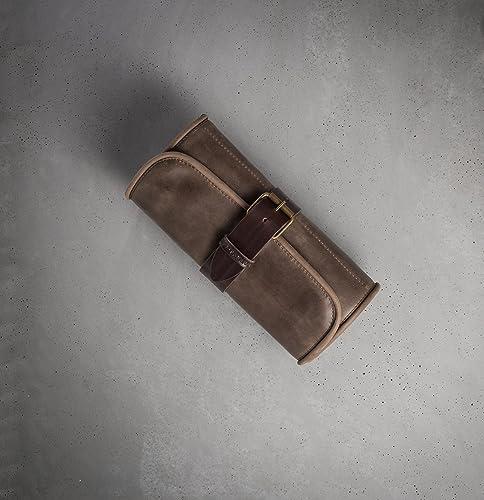 5d18ffeff96f Amazon.com  Barber toiletry roll Brown wash bag Amenities kit Leather Dopp  kit Hanging wash bag Barber toiletry Travel case FREE PERSONALIZATION   Handmade